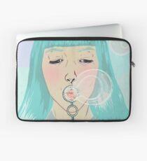 Blue Girl Blowing Bubbles Laptop Sleeve