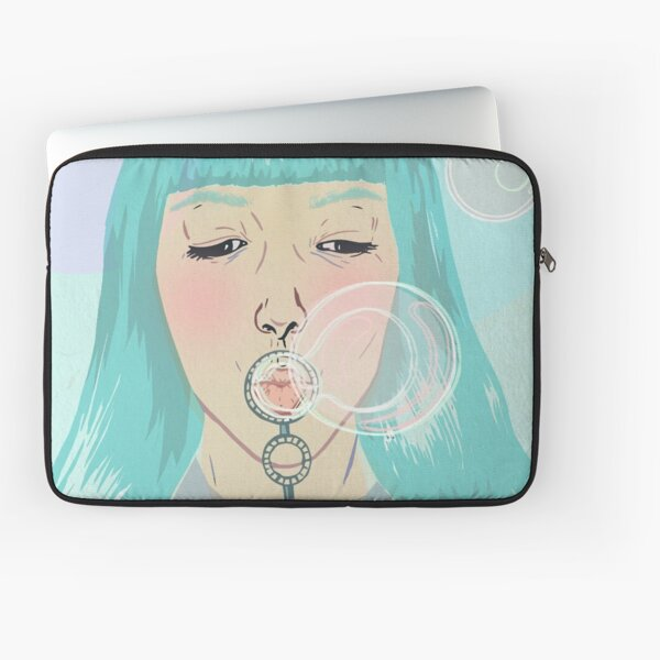 Blue Girl Blowing Bubbles Laptop Sleeve