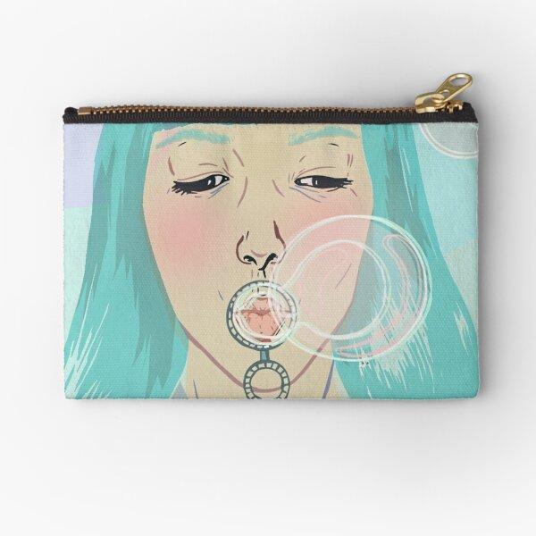 Blue Girl Blowing Bubbles Zipper Pouch