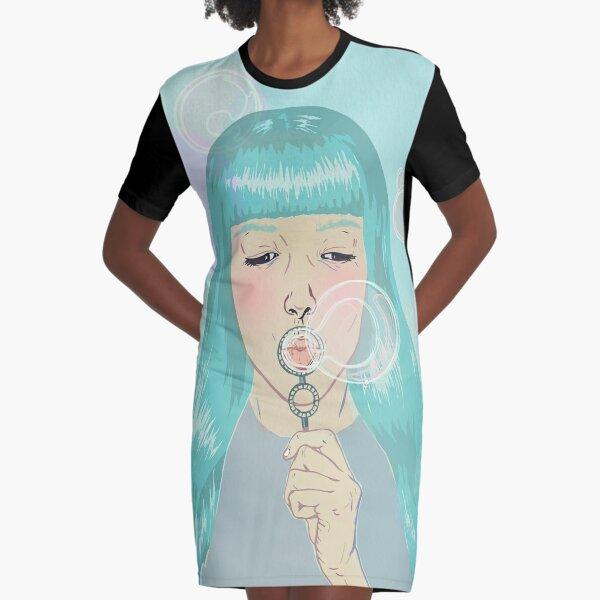 Blue Girl Blowing Bubbles Graphic T-Shirt Dress