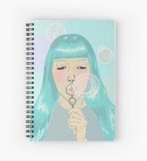 Blue Girl Blowing Bubbles Spiral Notebook