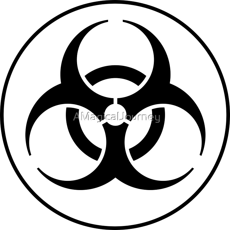 """Clean Biohazard Symbol Black and White - Science Geek ..."