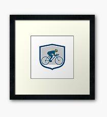 Cyclist Riding Mountain Bike Shield Retro Framed Print