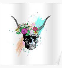 Floral sketch watercolor skull Poster