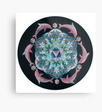 Pink Dolphin Flower of Life Mandala Metal Print