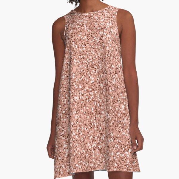 Rose Gold Printed Glitter Summer A-Line Dress