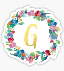 Floral Initial Wreath Monogram G Sticker