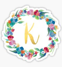 Floral Initial Wreath Monogram K Sticker