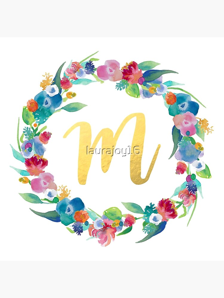 Floral Initial Wreath Monogram M by laurajoy16