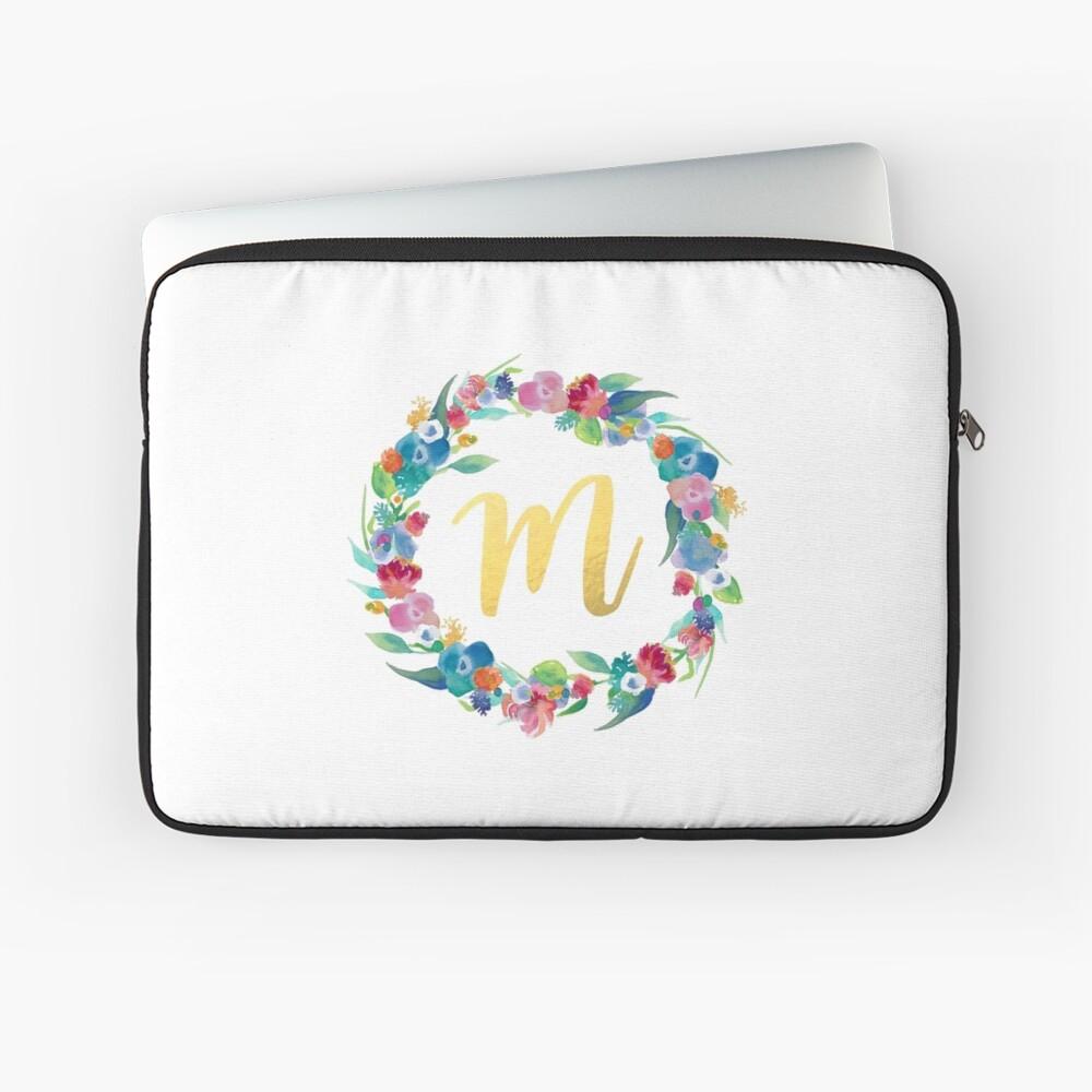 Floral Initial Wreath Monogram M Laptop Sleeve