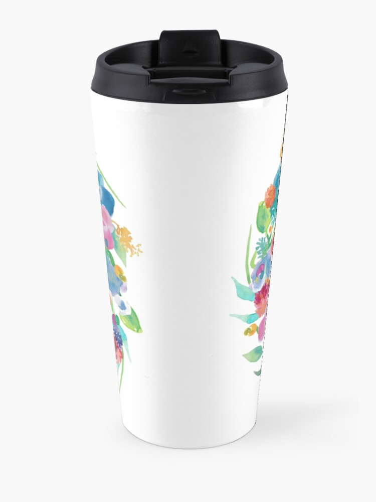 Alternate view of Floral Initial Wreath Monogram M Travel Mug