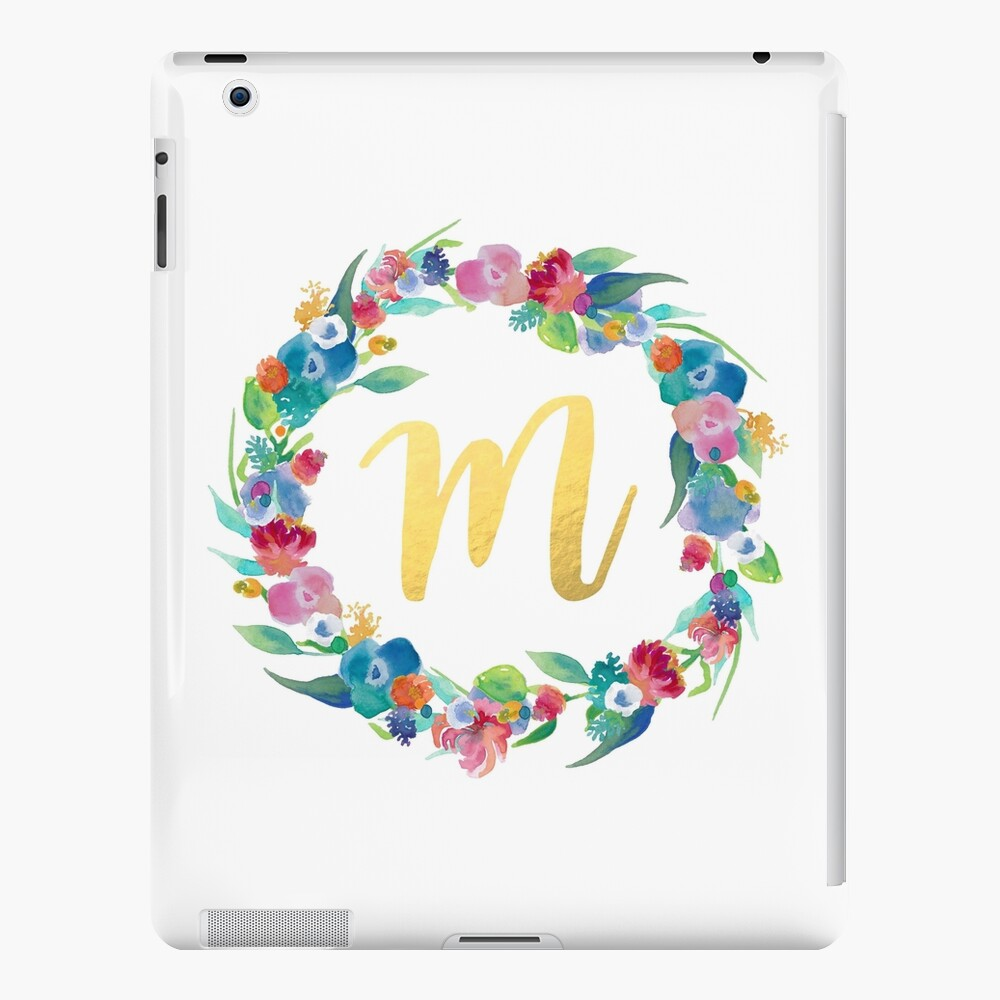 Floral Initial Wreath Monogram M iPad Case & Skin