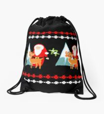 Christmas Santa Claus And His Reindeer In A Festive Snowy Scene Drawstring Bag