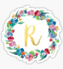 Floral Initial Wreath Monogram R Sticker