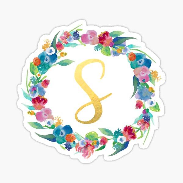 Floral Initial Wreath Monogram S Sticker