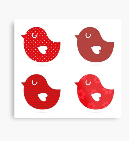 Retro birds collection / beautiful and cute birds Metal Print