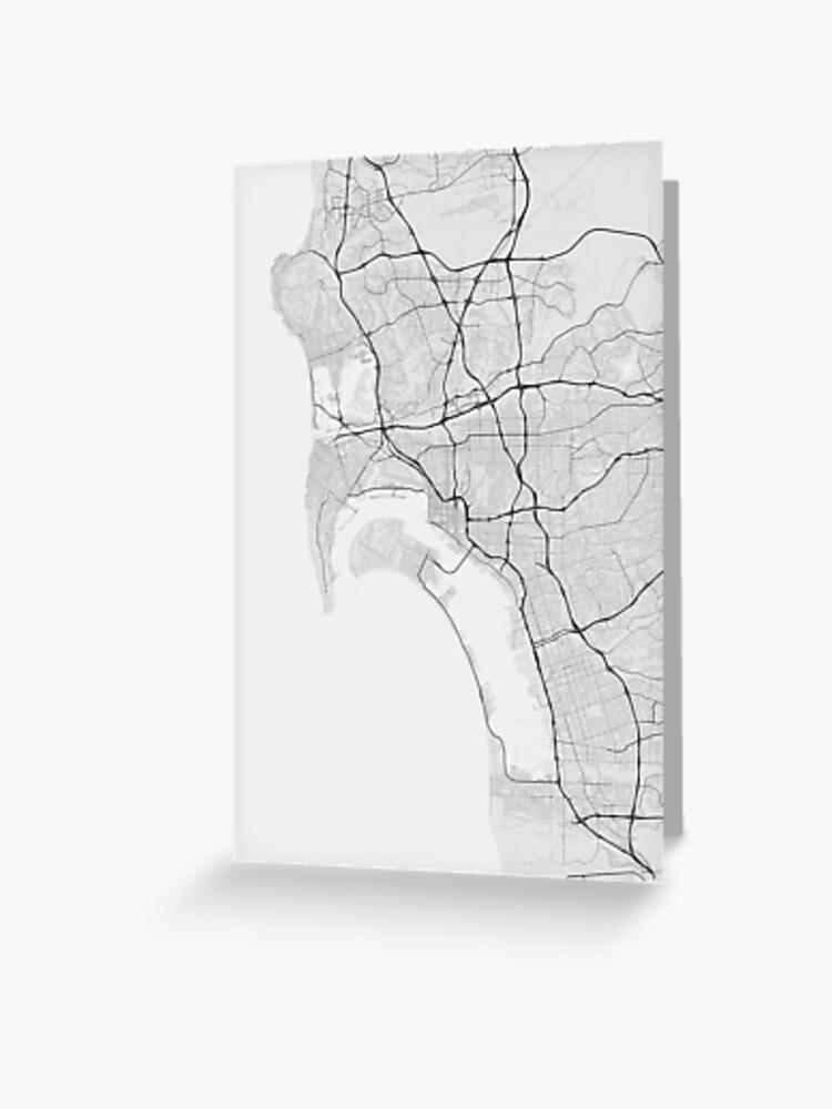 San Diego, USA Map. (Black on white) | Greeting Card