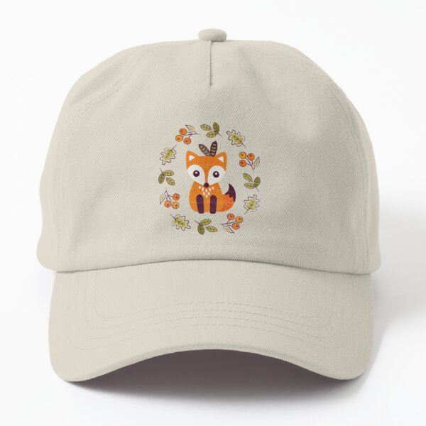 Little Fox with Autumn Berries Dad Hat