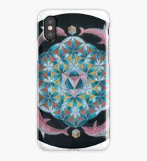 Pink Dolphin Flower of Life Mandala iPhone Case