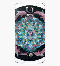 Pink Dolphin Flower of Life Mandala Case/Skin for Samsung Galaxy