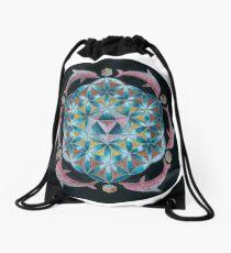 Pink Dolphin Flower of Life Mandala Drawstring Bag