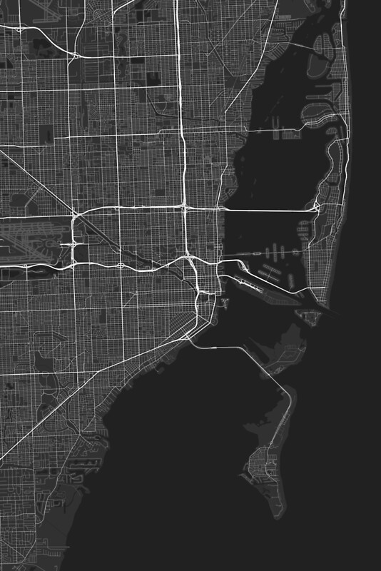 Miami USA Map White On Black Framed Prints By GraphicalMaps - Usa map black