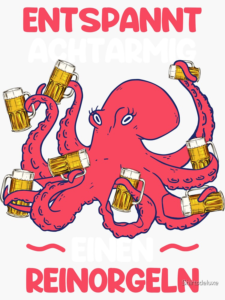 Relaxed eight-armed clean organs drinking beer alcohol party by Shirtsdeluxe