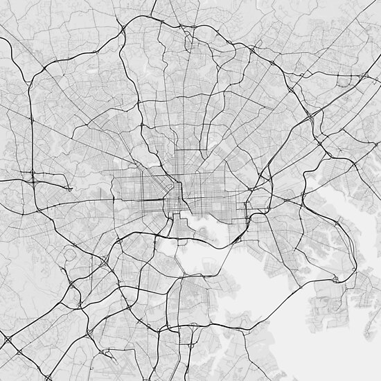 Baltimore Usa Map Black On White Photographic Prints By