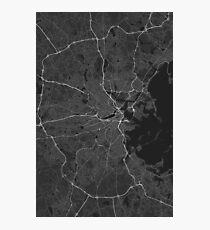 Boston, USA Map. (White on black) Photographic Print