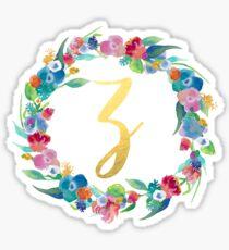 Floral Initial Wreath Monogram Z Sticker