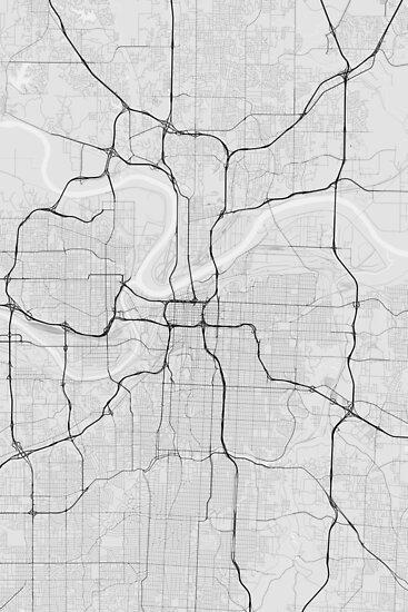 Kansas City, USA Map. (Black on white) von Graphical-Maps