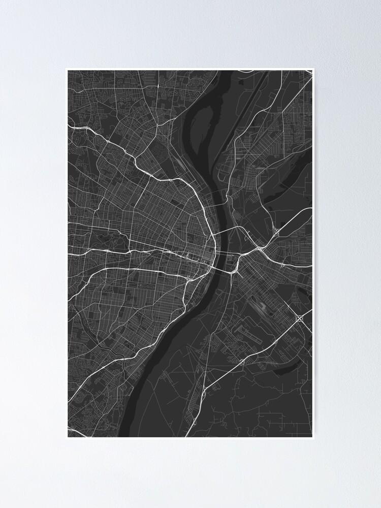 St. Louis, USA Map. (Black on white)   Poster