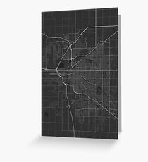 Lincoln, USA Map. (White on black) Greeting Card
