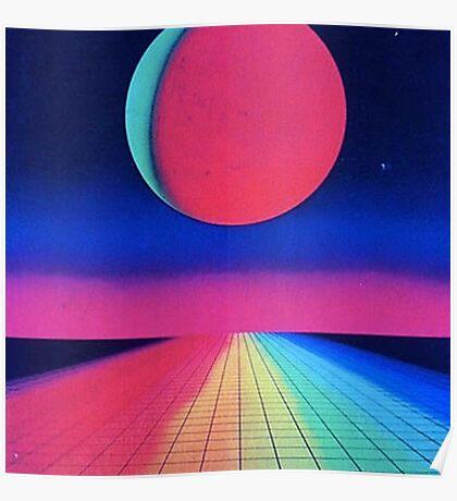Vaporwave sunset rainbow Poster