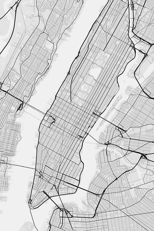 Manhattan New York USA Map Black On White Photographic - Black and white usa map