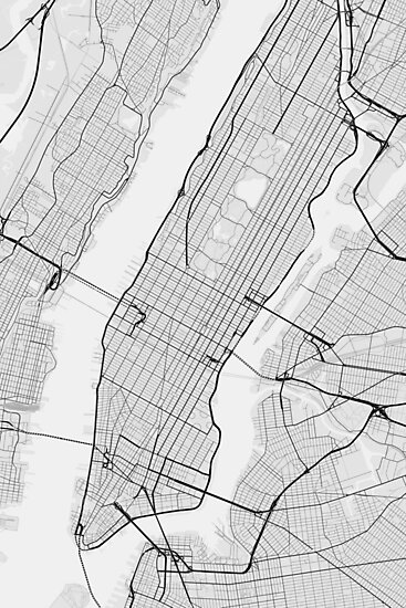 New York Map Black And White.Manhattan New York Usa Map Black On White Photographic Prints