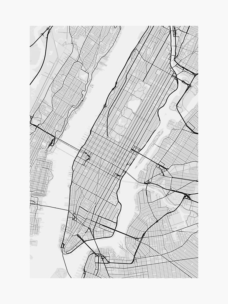 Manhattan, New York, USA Map. (Black on white)\