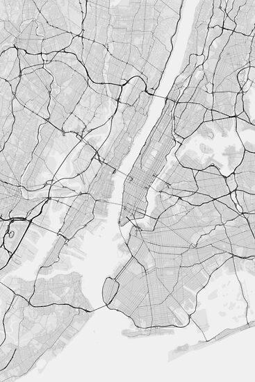 New York, USA Map. (Black on white) von Graphical-Maps