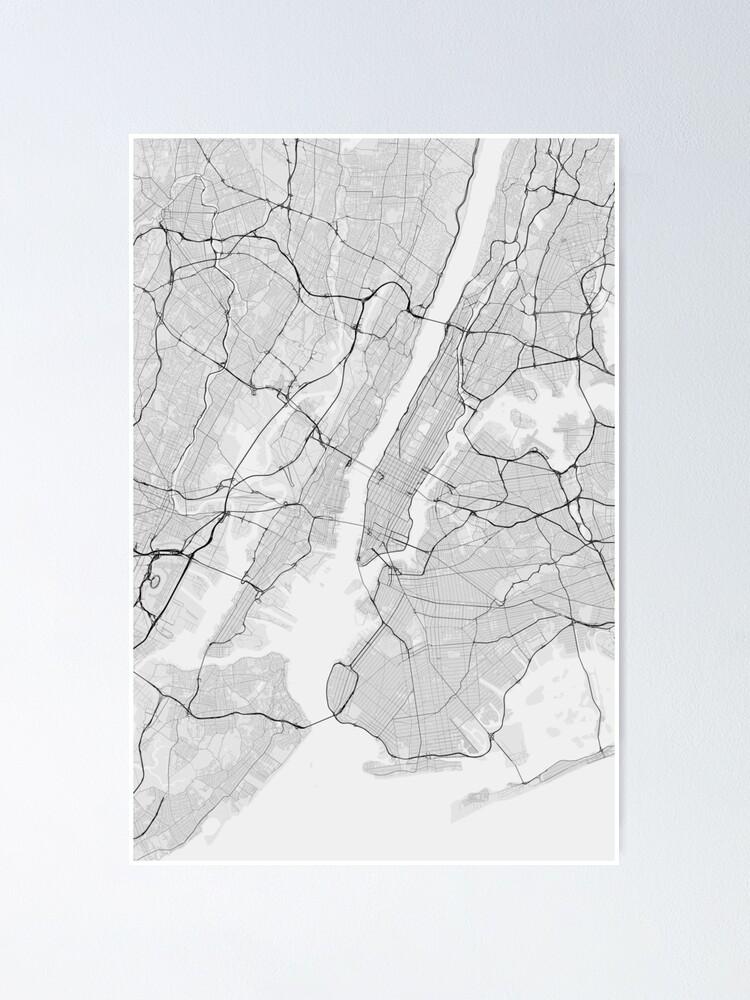 New York, USA Map. (Black on white)   Poster