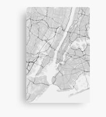 New York, USA Map. (Black on white) Canvas Print