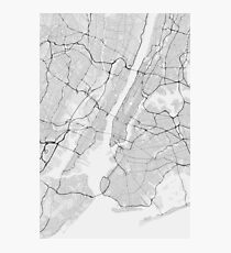 New York, USA Map. (Black on white) Photographic Print