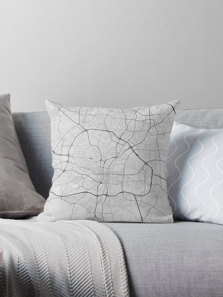 Raleigh Usa Map Black On White Throw Pillows By Graphical Maps