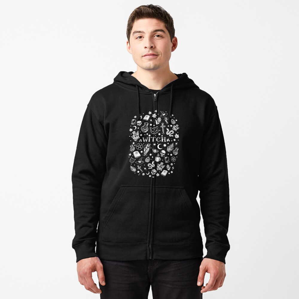 WITCH PATTERN 2 Zipped Hoodie