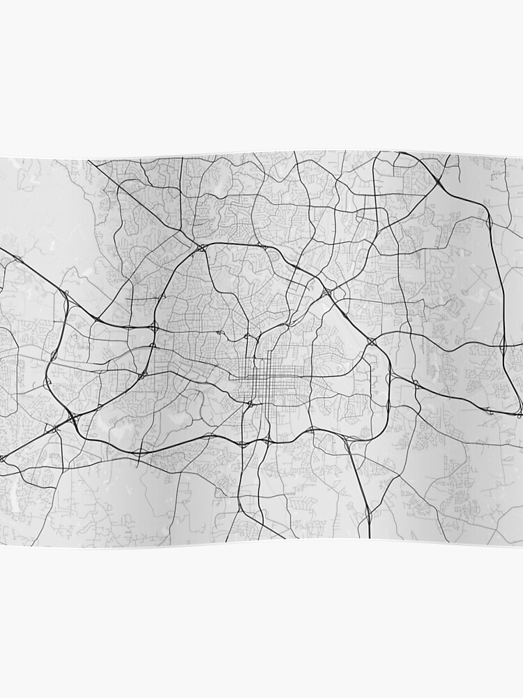 Raleigh, USA Map. (Black on white)   Poster