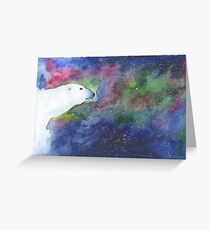 Watercolor Polar Bear with Aurora Borealis Greeting Card