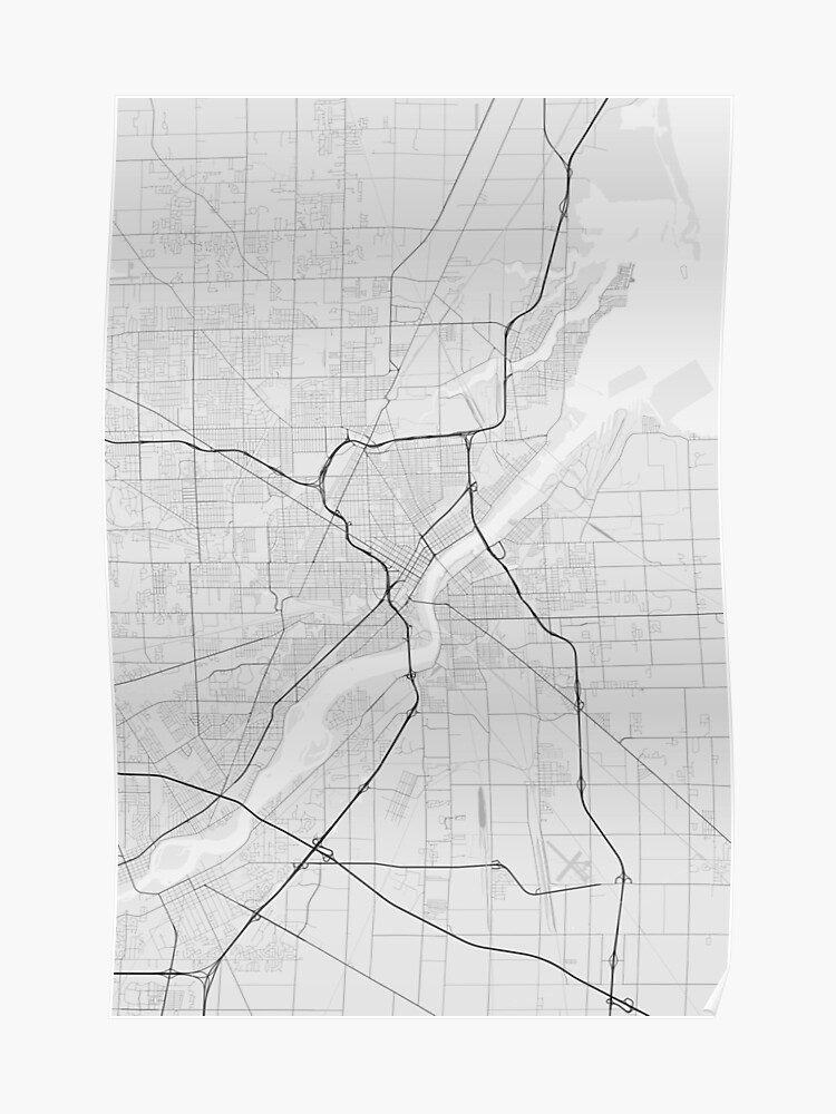 Toledo, USA Map. (Black on white)   Poster