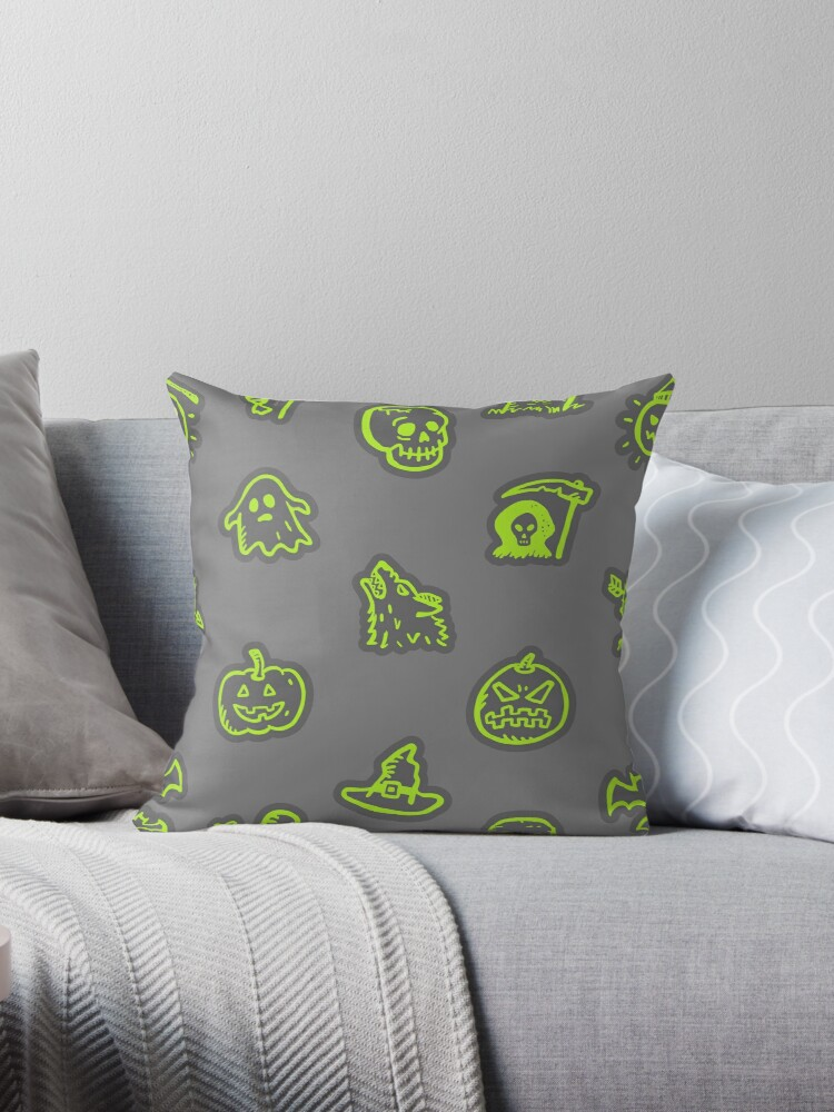 Hand Drawn Halloween Pattern Green and Grey by 91design