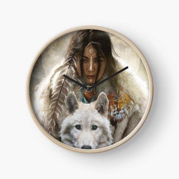 Wild Woman Wolf Clock