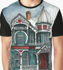 Blue House on a Grey Day Graphic T-Shirt