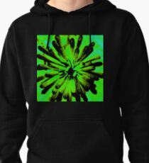 Green + Black Painted Flower Pullover Hoodie